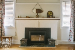 Lachlan Hearts in Black installed as a fire surround