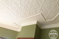 Pressed Tin Panels Shield Ceiling Feature White Corner Thornton & Blake