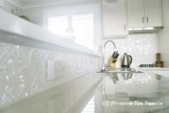 Snowflakes Kitchen Splash Back- Pearl White