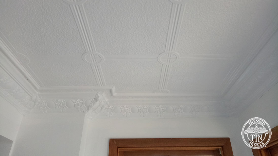 Pressed Tin Panels Victoria Ceiling White Egg & Grape Cornice