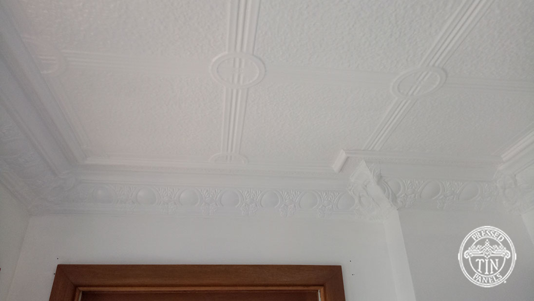 Pressed Tin Panels Victoria Ceiling White Egg & Grape Cornice Close