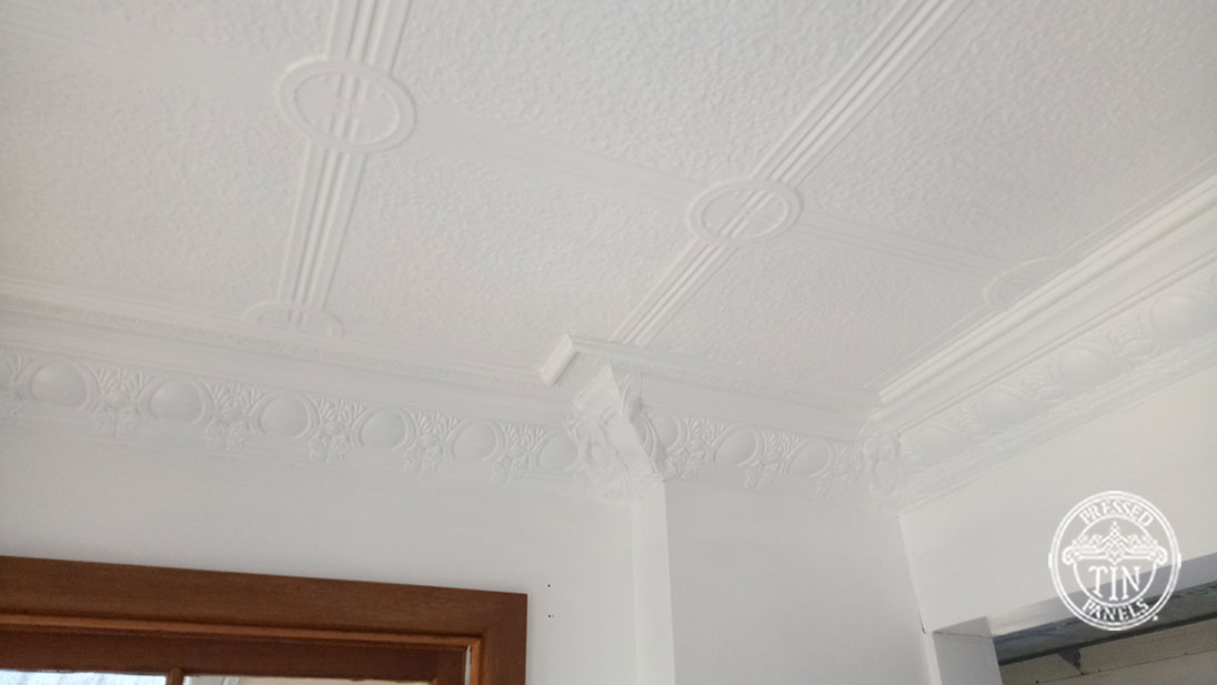 Pressed Tin Panels Victoria Ceiling White Egg & Grape Cornice Corner
