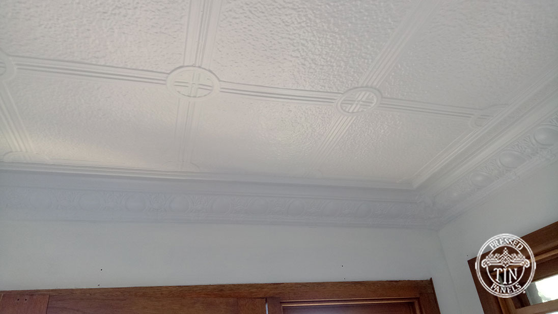 Pressed Tin Panels Victoria Ceiling White Egg & Grape Cornice Right Corner