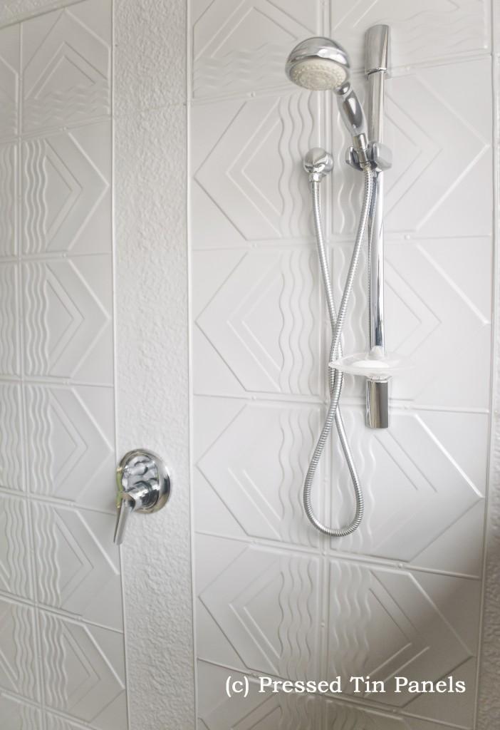 Bondi Bathroom Mercury Silver Pressed Tin Panels