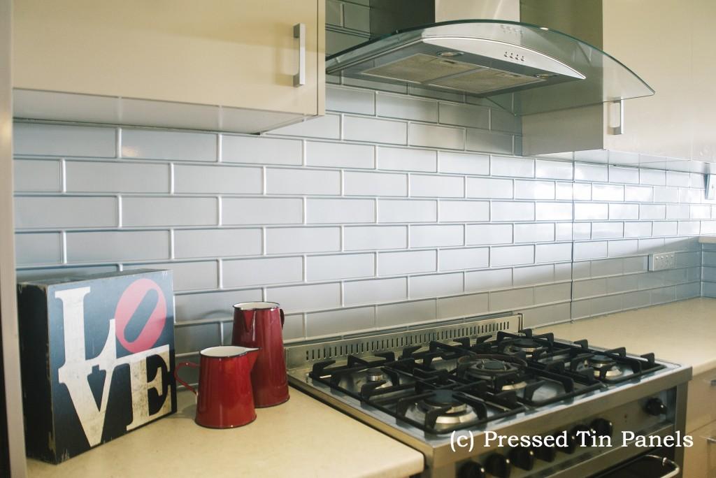 Brick Kitchen Splash Back Mercury Silver Pressed Tin Panels