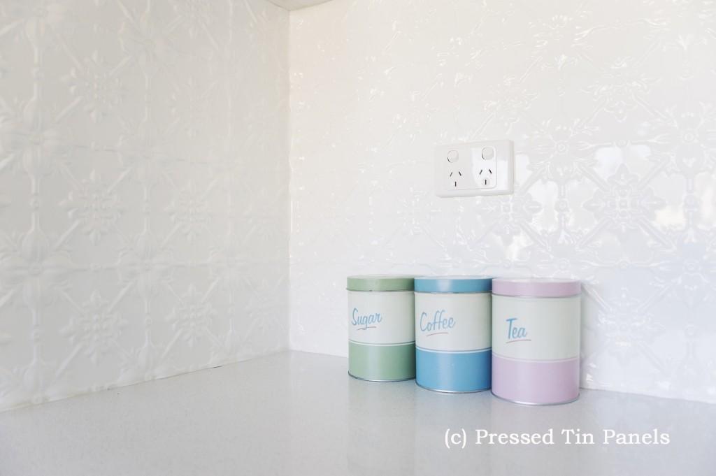 Original Kitchen Splash Back Pearl White Pressed Tin Panels