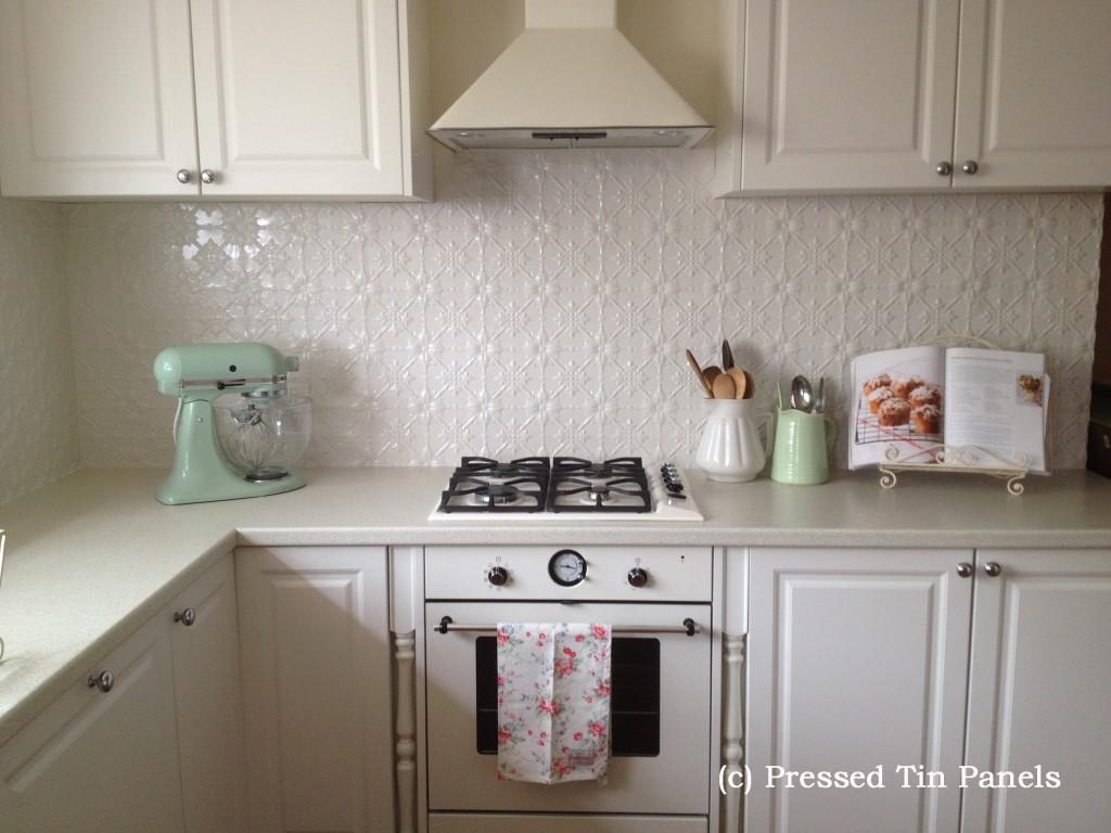 Original Kitchen Splash Back Shoji White Pressed Tin Panels