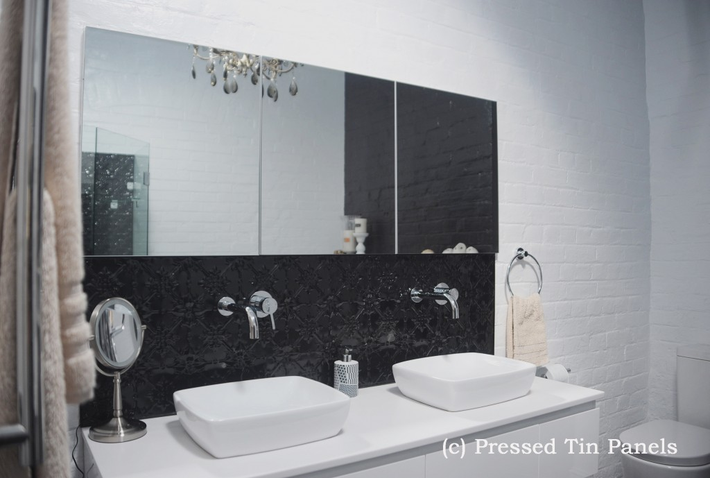 PressedTinPanels_Original900x1800_Bathroom_Splashback_GlossBlack_Basin_2