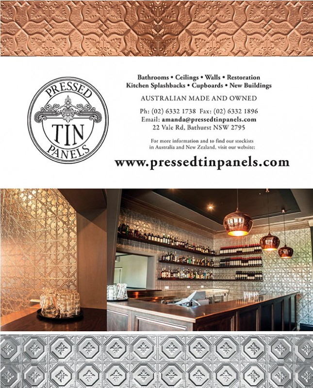 Pressed Tin Panels Advertisement in October 2015 Issue of Home Design Magazine