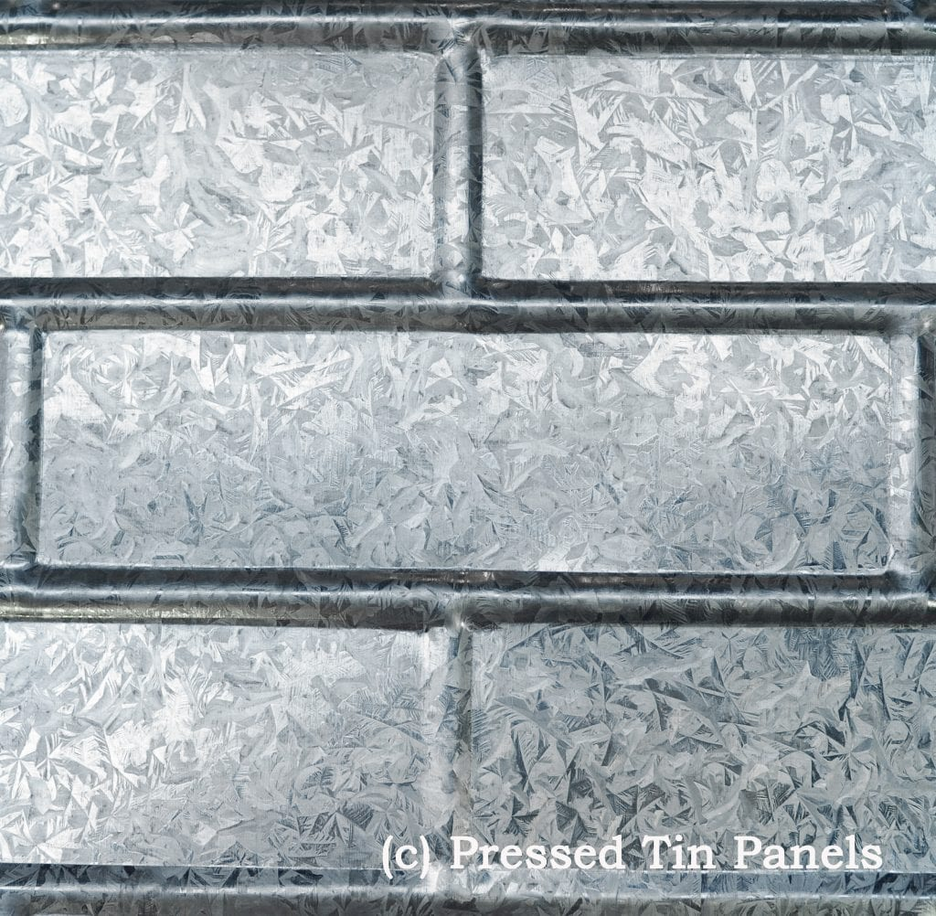 image example of pressed tin panels Brick pattern pressed in galvanised sheet