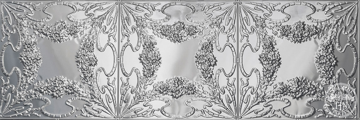 Full panel image example of Pressed Tin Panels Flannel Flower pattern