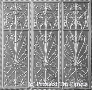 Pressed Tin Panels Wildflower -Three Pattern Repeats-Dado Wall Panel
