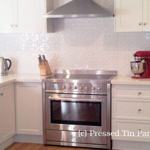 Pressed Tin Panels 'Acorn' Splashback White Powder Coat