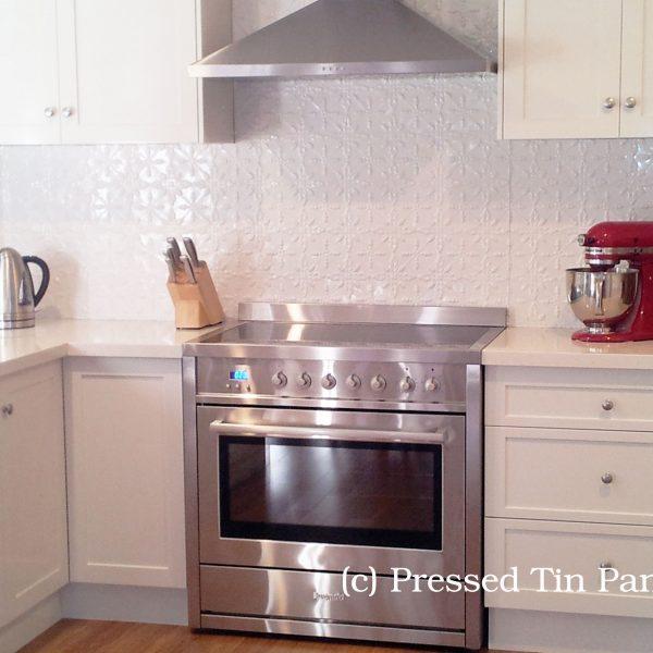 Pressed Tin Panels 'Acorn' Splashback White Powder Coat
