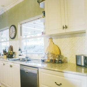 Pressed Tin Panels Lattice Splashback White Birch