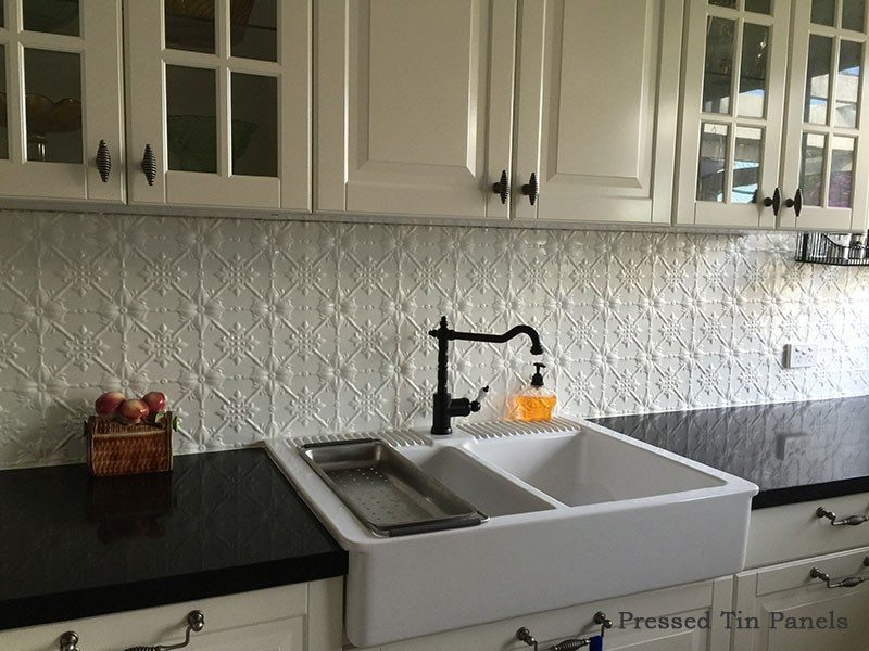 modern country kitchen splashback pressed tin panels