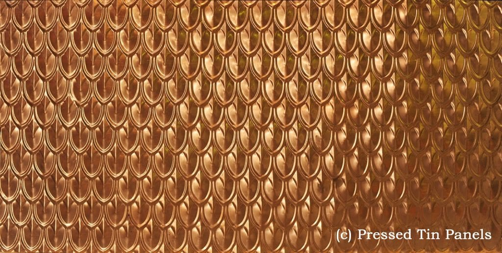 Pressed Tin Panels Fish Scale pattern pressed in Copper
