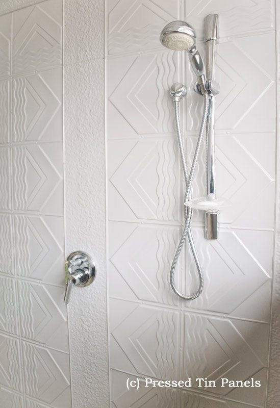 Pressed Tin Panels Bondi Shower Mercury Silver