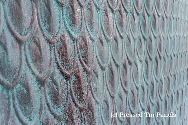 Pressed Tin Panels Fish Scale Liquid Copper patina Green