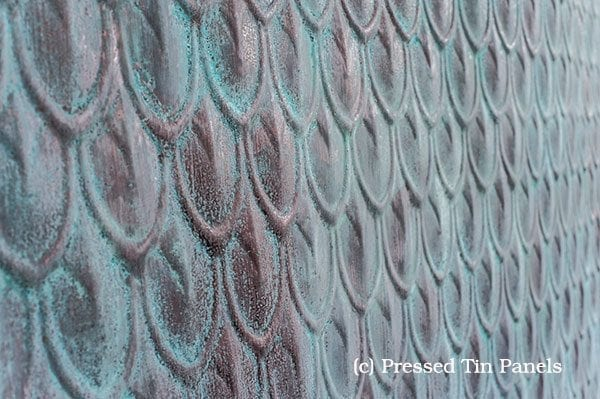 Pressed Tin Panels Fish Scale Liquid Copper patina Green