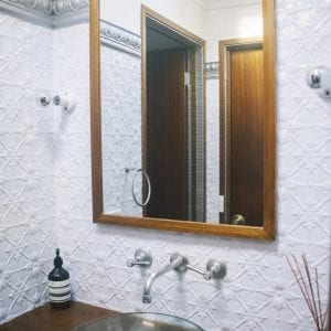 Pressed Tin Panels Original bathroom bright white