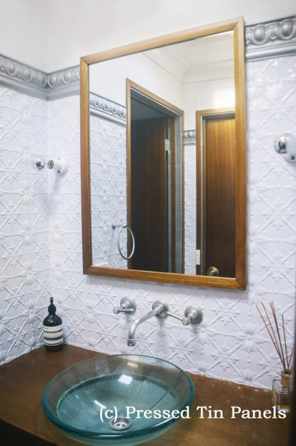 Pressed Tin Panels Original bathroom bright white