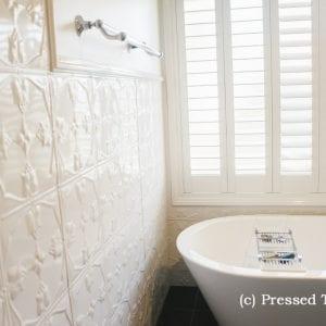 Pressed Tin Panels Tulip Shoji White Bathroom