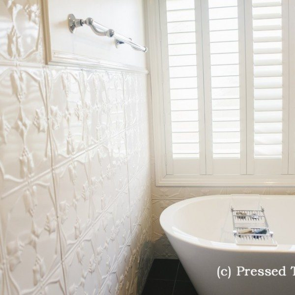 Pressed Tin Panels Tulip Shoji White Bathroom