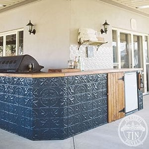 large maple pattern featured on an outdoor bar front