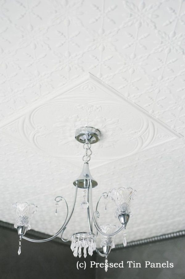 Pressed Tin Panels Acorn Ceiling White Iris Small Grate Cornice