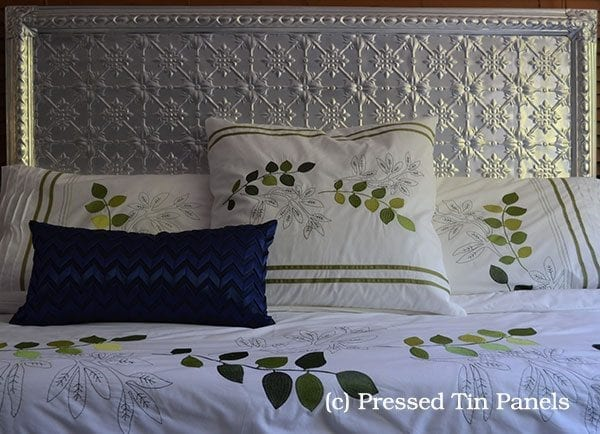 Pressed Tin Panels Assembled Example of Pressed Metal Bed Head made from Original pattern