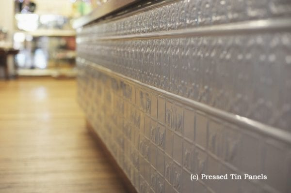 Pressed Tin Panels Counter Front Dado Wall Panel Mercury Silver Cragos Mill