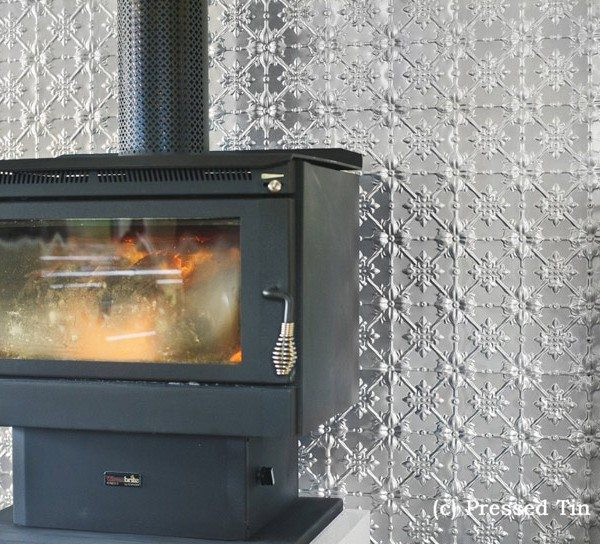 PressedTinPanels_Original Feature Wall Fire Place