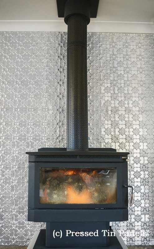 Pressed Tin Panels Original Feature Wall Fire Place Floor to Ceiling