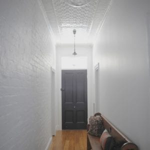 PressedTinPanels_Original Hallway Ceiling Small Rough Cast Small Grate Cornice