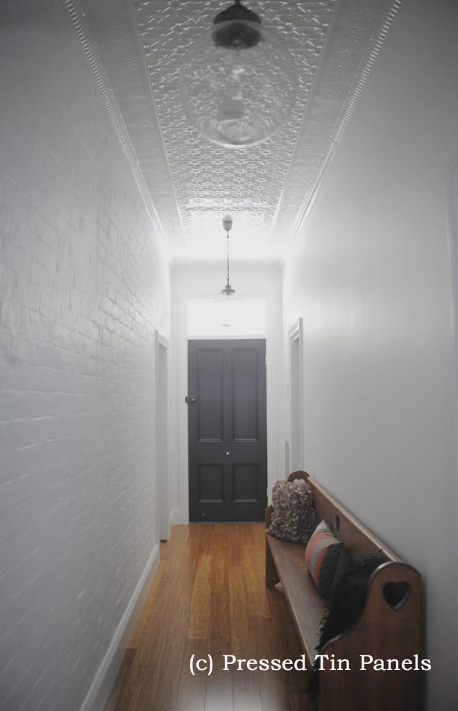 ... PressedTinPanels_Original Hallway Ceiling Small Rough Cast Small Grate  Cornice