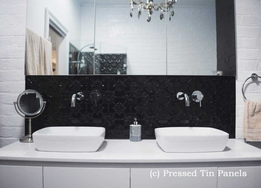 PressedTinPanels_Original900x1800_Bathroom_Splashback_GlossBlack_Basin_1