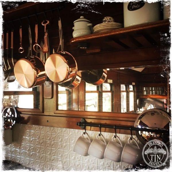 Pressed Tin Panels 'Lachlan Hearts' Train Carriage Kitchen Splashback White