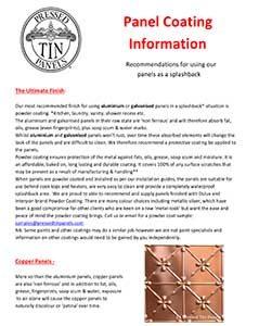 Panel Coating Information