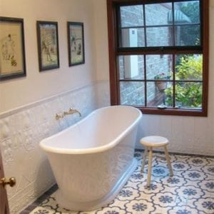 Pressed Tin Panels Art Nouveau bathroom