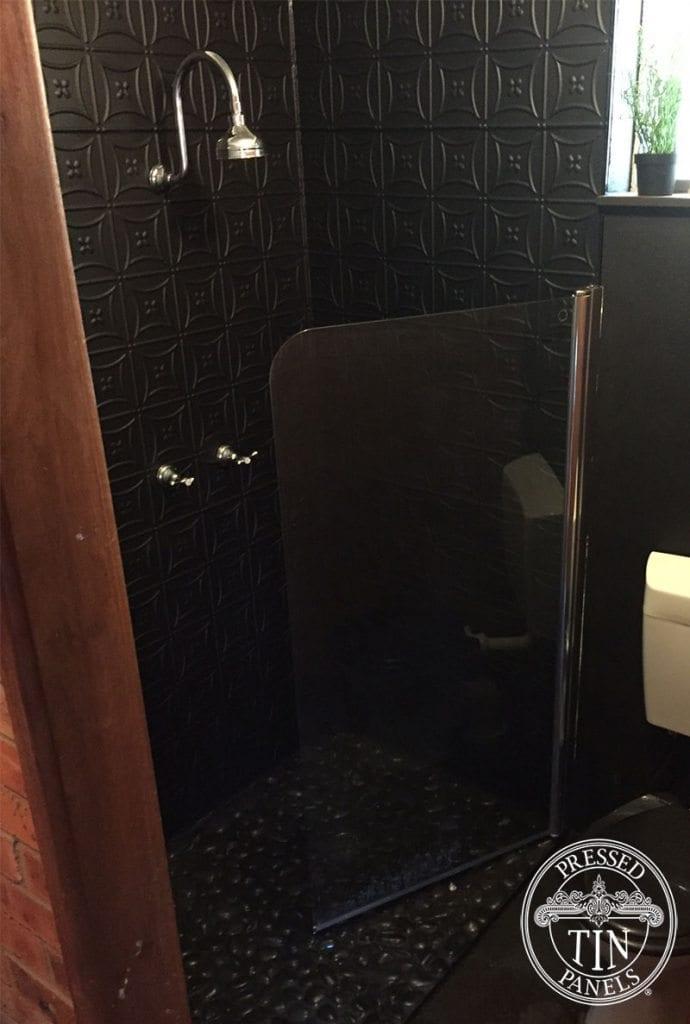 Pressed Tin Panels Carnivale pattern in powder coat matt black -shower recess