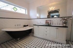 Pressed Tin Panels Lattice dado feature wall bathroom-white