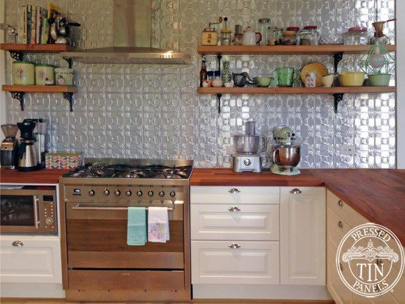 Pressed Tin Panels 'Evans' pattern kitchen splashback clear coated