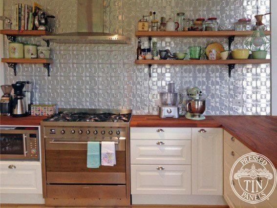 Pressed Tin Panels 'Evans' pattern kitchen splashback clear coated