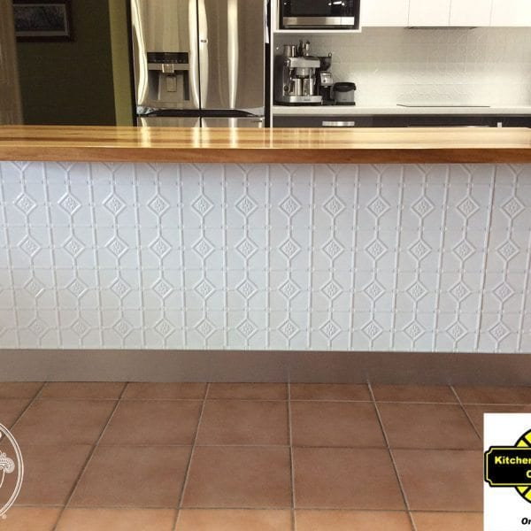 Pressed Tin Panels 'Mudgee' panel powder coated in Classic White - Kitchen Concepts Orange