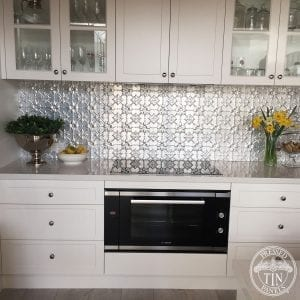 Pressed Tin Panels 'Original' pattern installed as Kitchen Splashback . Natural state