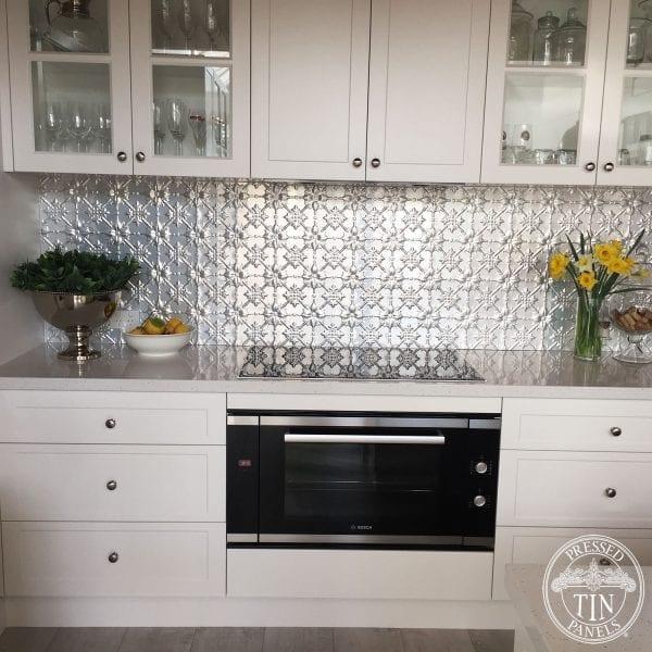 Pressed Tin Panels 'Original' pattern installed as Kitchen Splashback . Natural state