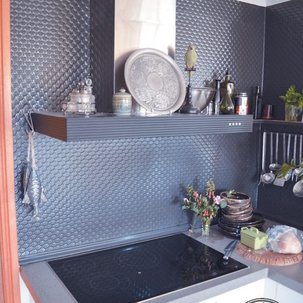 Pressed Tin Panels 'Scallop' pattern powder coated in Dulux Monument