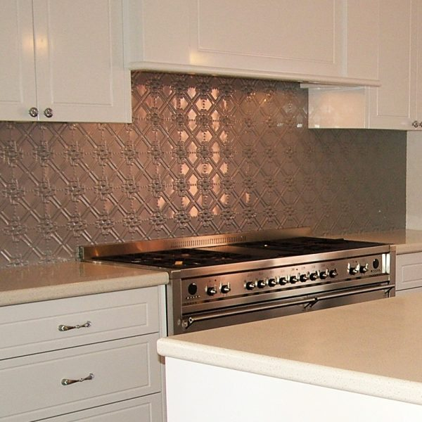 Pressed Tin Panels Maz pattern powder coated in Mercury Silver