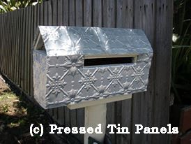 Pressed Tin Panels mail box covered in Original pattern